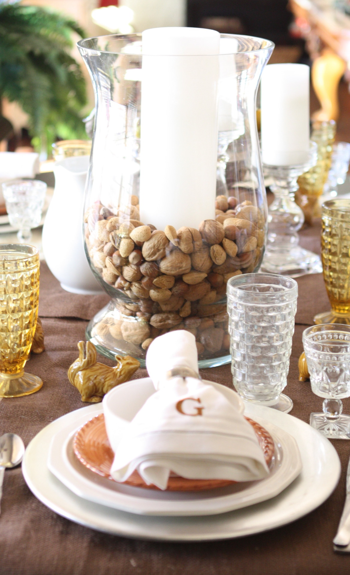 Hurricane Glass Thanksgiving Centerpiece