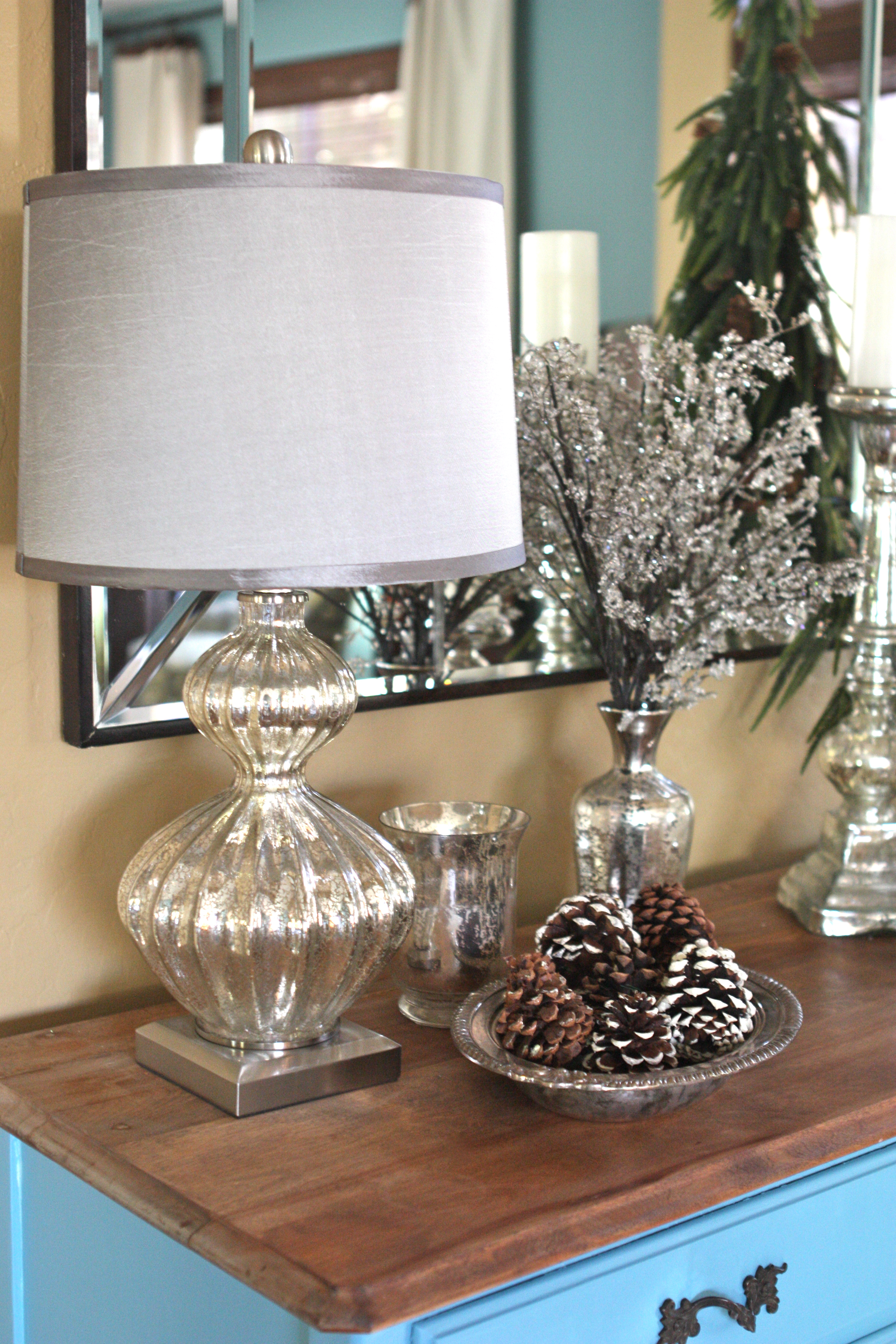 My goodwill turquoise buffet shimmering holiday decor for Home goods christmas decorations 2013